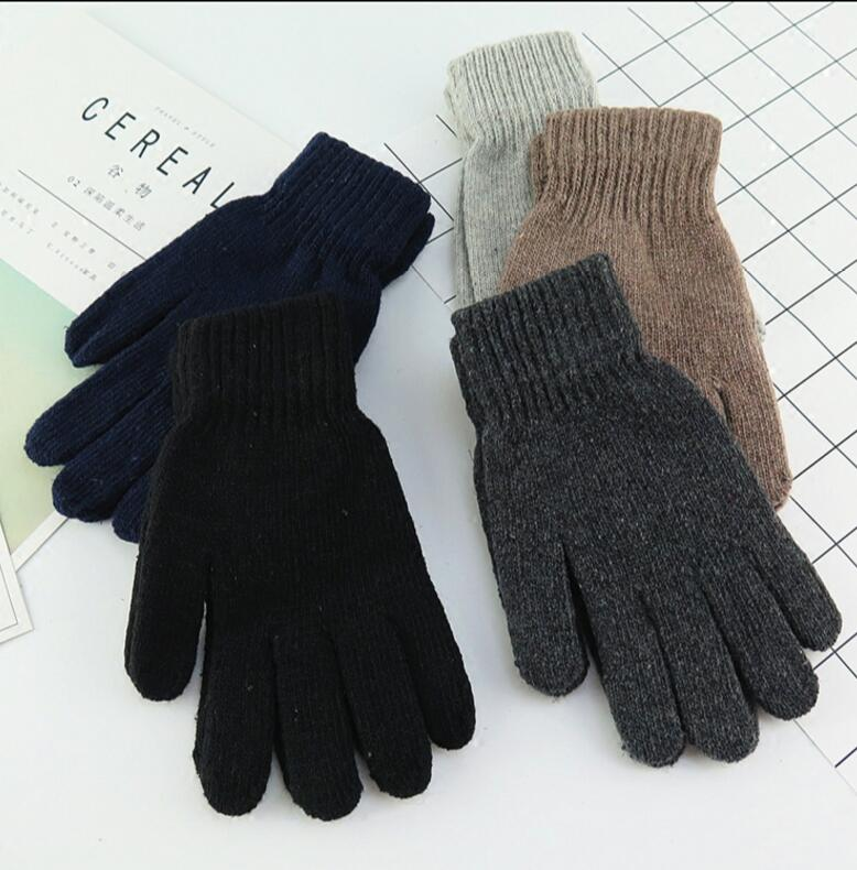 Autumn And Winter Men's Fashion Solid Color Knitted Gloves Male Thicken Thermal Warm Black Wool Knitted Gloves Mittens R1833