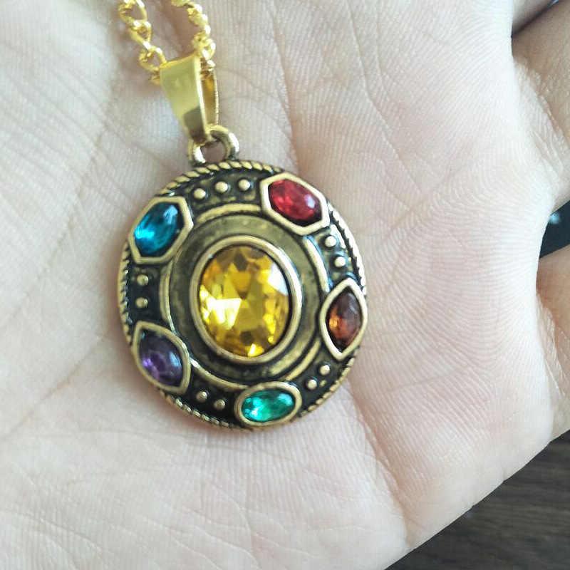 SG gorąca sprzedaż Avengers 3 Thanos nieskończona moc rękawica kryształowe naszyjniki wisiorki złoty naszyjnik typu choker otworzyć butelkę brelok mężczyzna Lady prezent