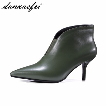 2017 Autumn Women's Sexy Thin High Heel Elastic Slip-on Ankle Boots Brand Designer Real Leather High Quality Short Booties Shoes
