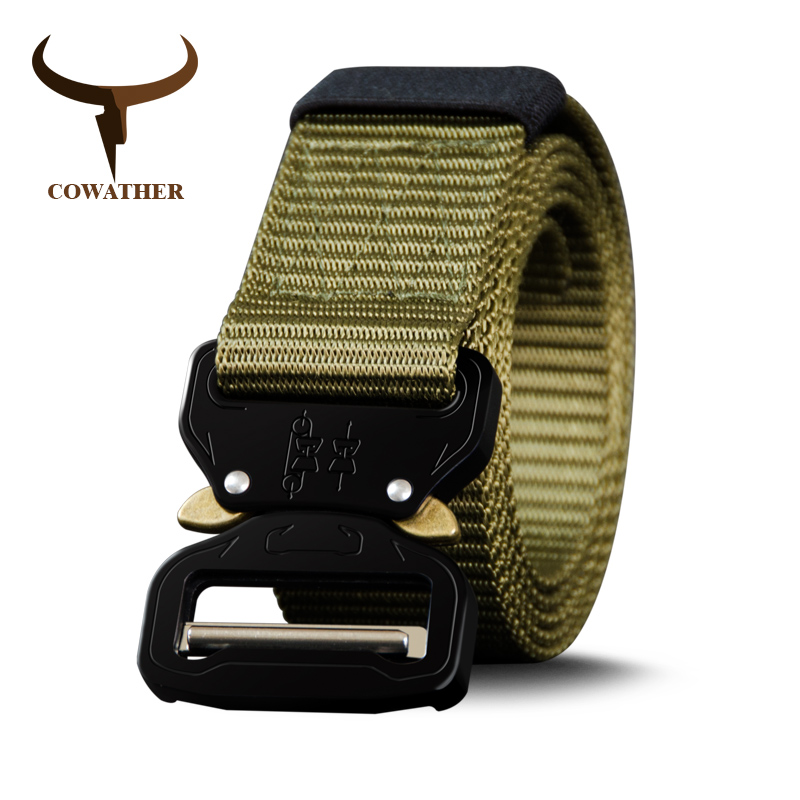 COWATHER nylon ceinture date hommes ceintures militaire extérieure tactique mâle jeans ceintures pour hommes de luxe casual sangle mâle 130 150 170 cm