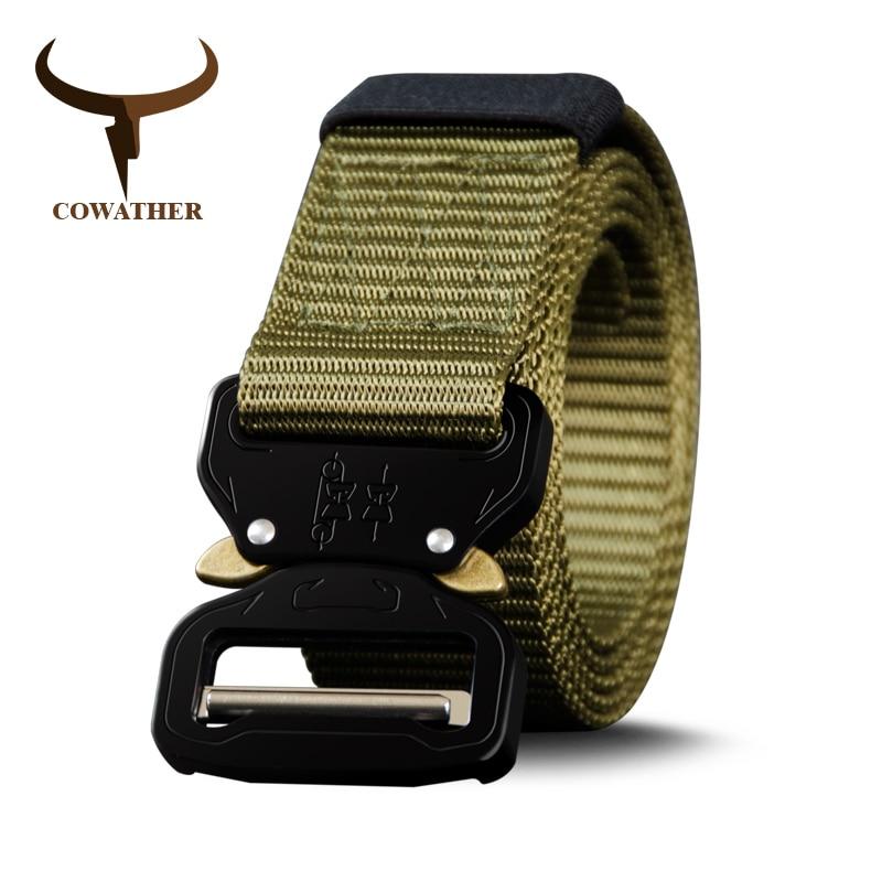 COWATHER nylon gürtel männer gürtel militär outdoor tactical männlich jeans gürtel für männer luxus casual männlichen bügels 130 150 170 cm