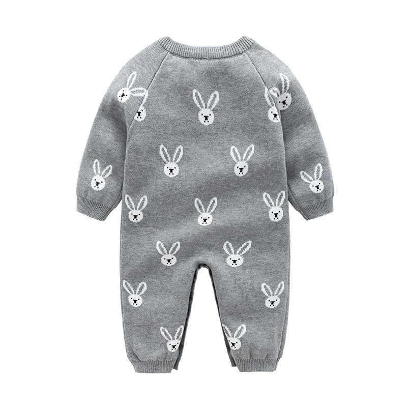 Babzapleume ฤดูใบไม้ร่วงฤดูหนาวชุดเสื้อผ้าเด็กแรกเกิดการ์ตูนน่ารักถักแขนยาว Rompers + หมวกเด็กทารก Jumpsuit เครื่องแต่งกายเด็ก BC1057