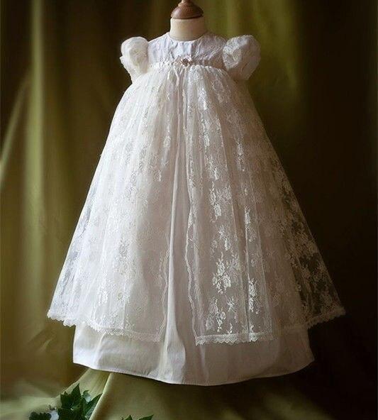 c6ae9d70f7bc2 Nouveau Blanc Dentelle Personnalisé Baptême Robe De Baptême Dress Lanterne  Manches Infantile dentelle Applique Avec Bonnet