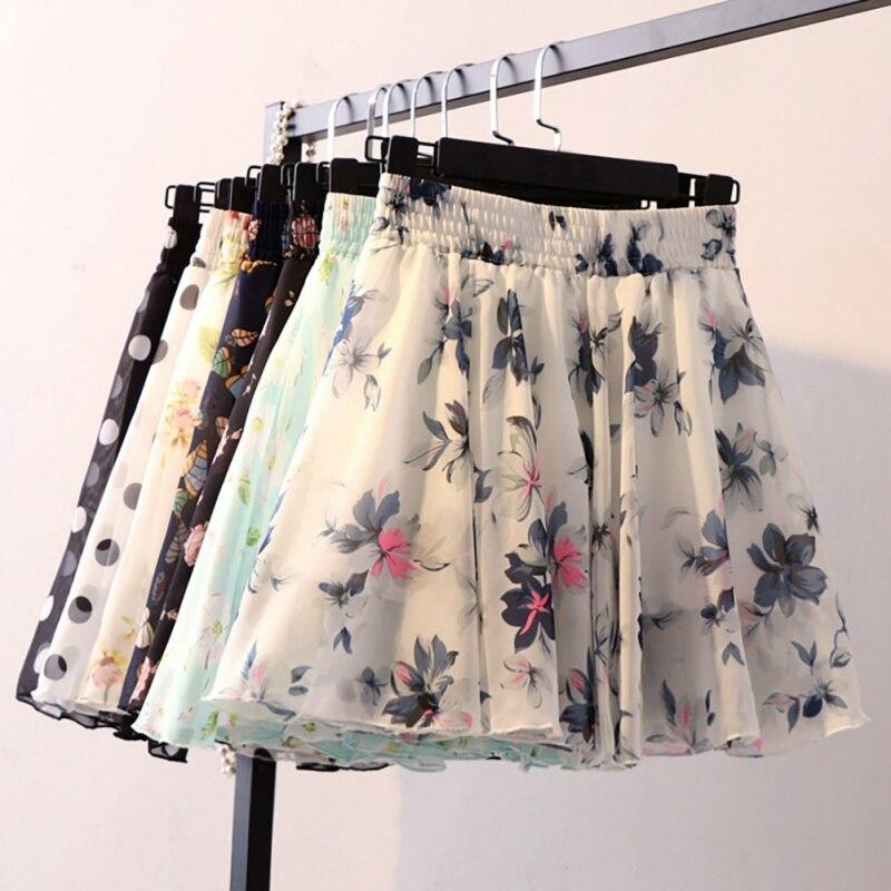 Chiffon All-match Women Skirt High Waist Anti-light Pleated Skirt Floral Print Dot Print Mini Skirt faldas mujer moda 2020 New