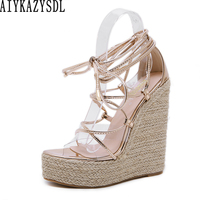 AIYKAZYSDL Women Cross Strap Rome Gladiator Sandals Clear Transparent Wedge Platform Shoes Cane Hemp Straw Rope Ultra High Heel