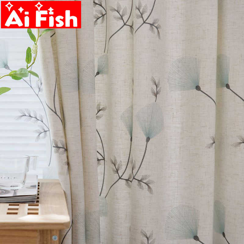 Leaves Embroidered Curtains Semi-light Shading Window Curtains for Living Room Pastoral Window Valance for Bedroom MY059-30