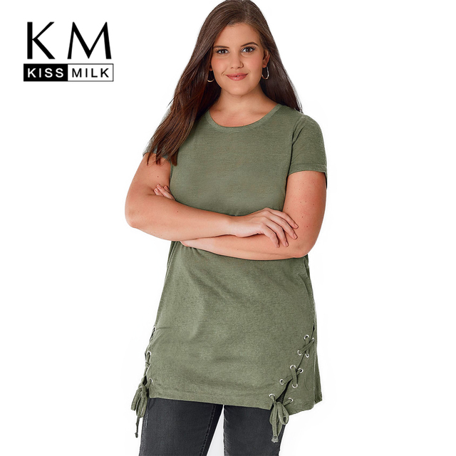 bcebd95021a Kissmilk Women Plus Size Army Green Long T-shirt Tunic Tops Lace Up O-neck  Short Sleeves Tees Punk T Shirt Large Size 7XL
