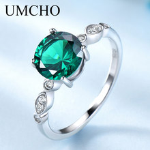 UMCHO Gemstone Emerald Silver Jewely Solid 925 Sterling Silver Rings For Women Birthstone Wedding Party Band Mother's Day Gift