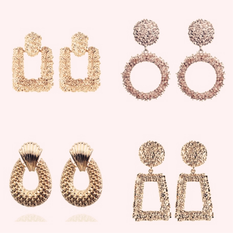 Adolph Vintage Scrub Earrings For Women Gold Color Geometric Statement Earring Metal Earing Hanging Fashion Jewelry Trendy New(China)
