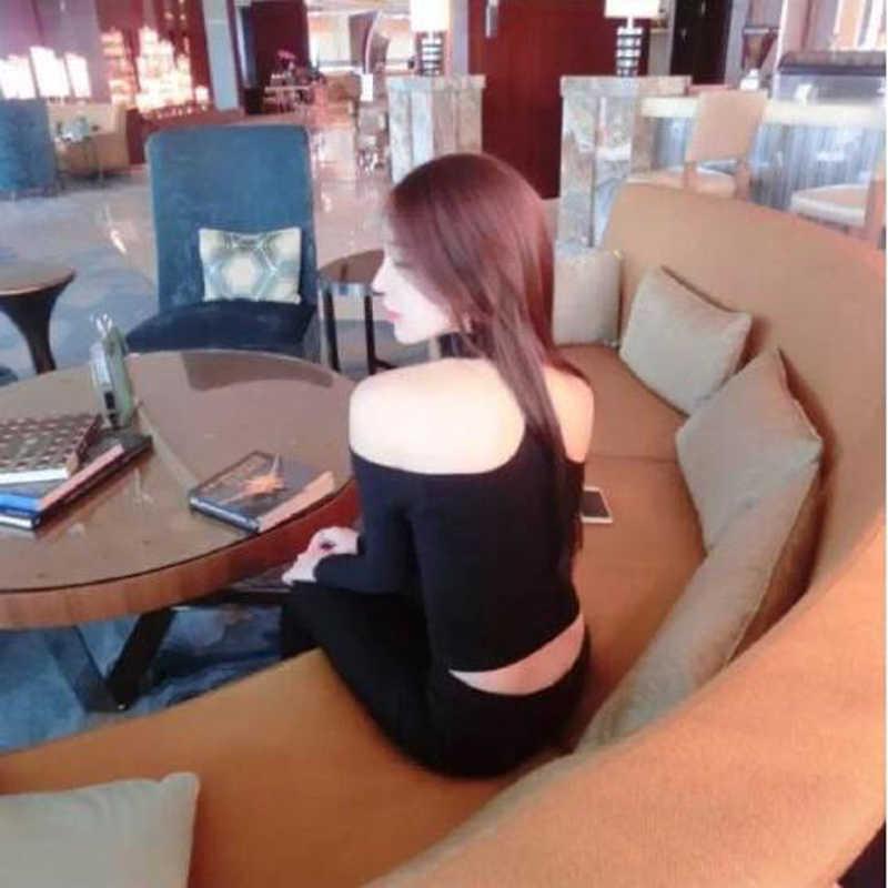ร้อนสไตล์เซ็กซี่ผู้หญิง TShirt ของแข็งสีแขนยาว Slash คอปิด Shoulder Halter Tops Tees ความยาวสั้นผู้หญิงเสื้อยืด