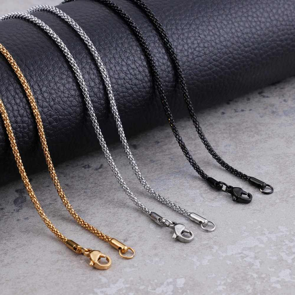 2mm Popcorn Chains Necklace Gold/Silver/Black Stainless Steel Choker Neck Fashion Jewelry