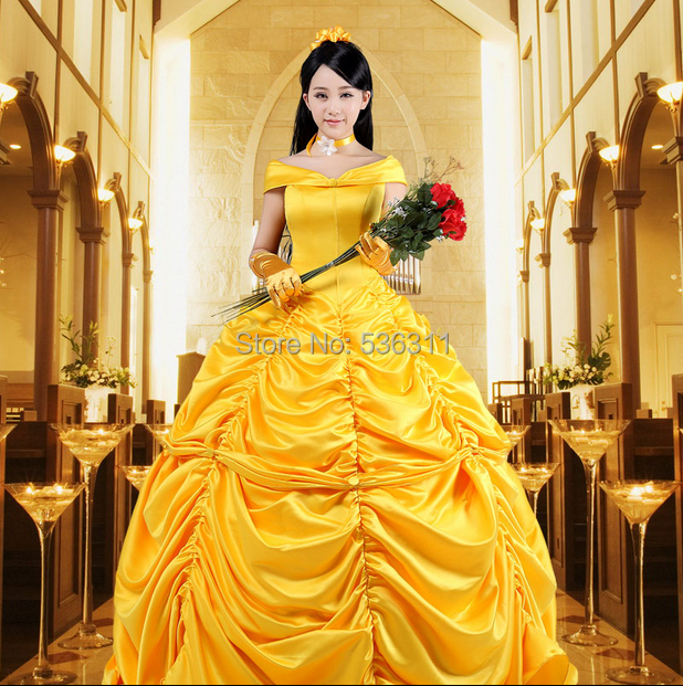 где купить Yellow Princess Belle dress Beauty and the Beast Belle cosplay costume Halloween costumes for women adult Princess belle costume по лучшей цене
