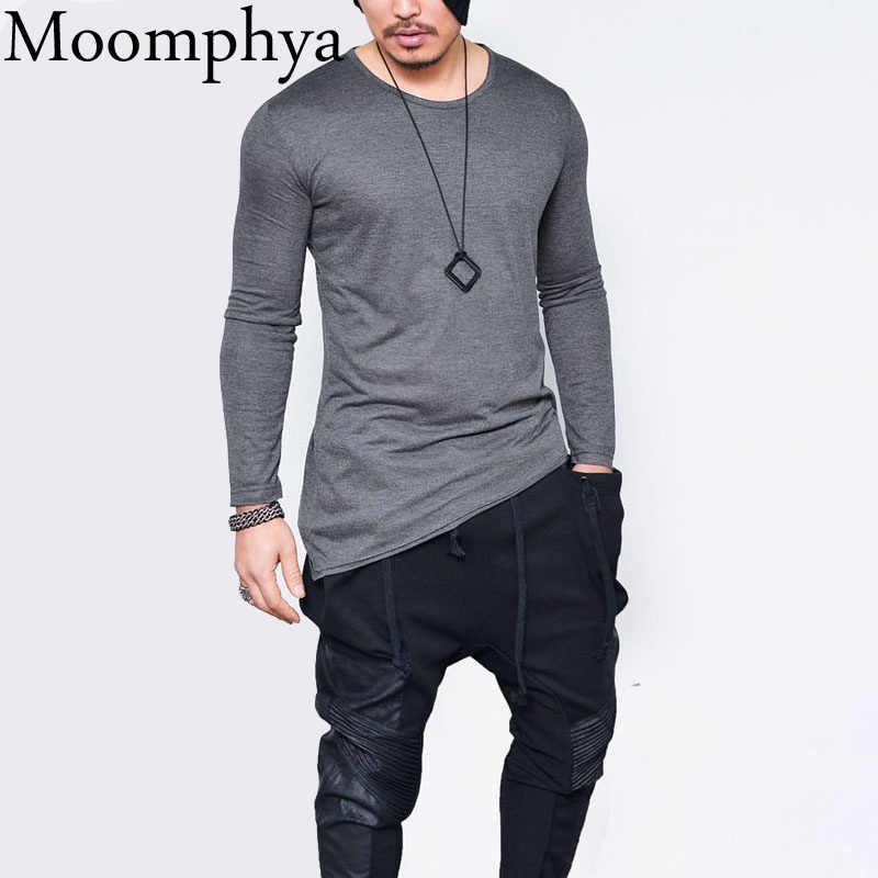 Moomphya 2018 Men hip hop long sleeve t shirt Asymmetrical Longline hem t-shirt  men 551d2aa9fb3