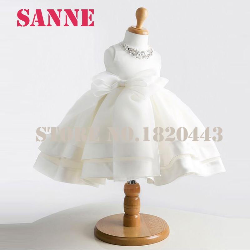 Vestidos De Comunion Nina Ball Gown Tutu Communion Dresses White Flower Girls Dress Tank Pageant Dresses For Little Girls