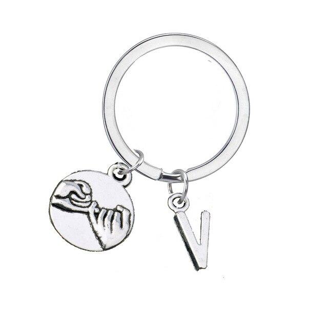 Trendy Letter V Alloy Jewelry Keyring Pinky Promise Swear Keyring For Men  Women Best Friend Gift 11822f6c4