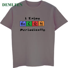63d5dd18 Funny Periodic Table Bacon Science Geek Chemistry T Shirt Men's Cotton  Short Sleeve Shirt Unisex Tees