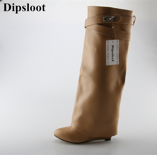 2017 Hot Selling Women Knee High Leather Wedge Boots Celebrity Wearing Long Boots Riding Boots Zipper Slip-on Knight Boots