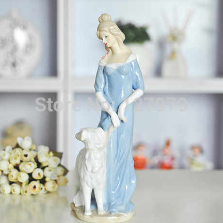 Woman and dog ceramic display porcelain home decor statue wedding gift Ornaments statuette crafts figurine living room study