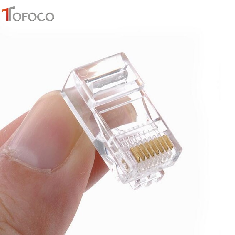 TOFOCO 50Pcs/Lot Cat5 RJ45 Connector Cat5E 8P8C Modular Ethernet Cable Head Plug Gold-plated Cat 5 Crimp Network RJ 45 Connector
