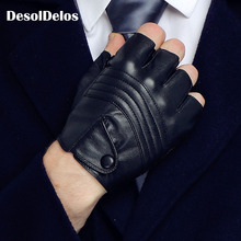 DesolDelos New Style Mens Leather Driving Gloves Fitness Half Finger Tactical Black Guantes Luva DropShipping