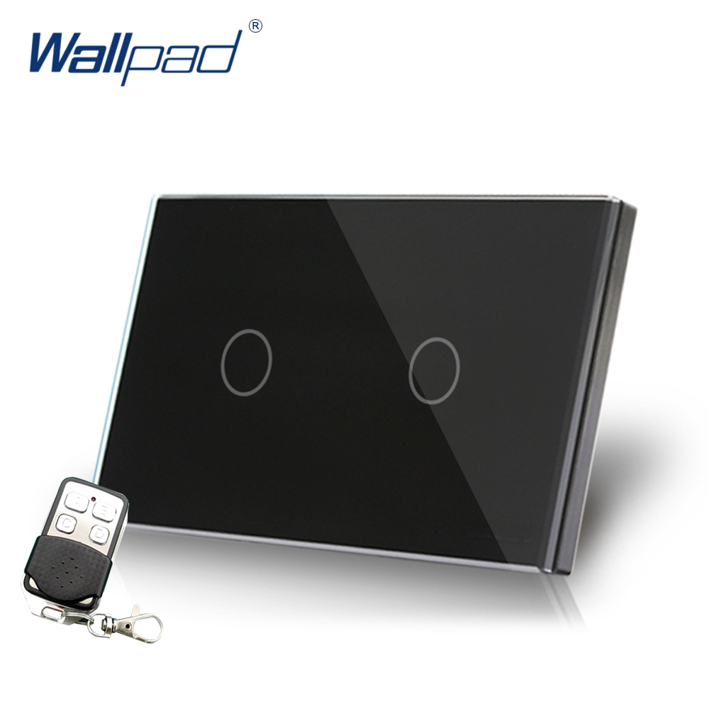 Black 2 Gang 2 Way Remote Switch Crystal Glass Switch Wallpad Luxury US/AU Double Remote Control Smart Switch With Controller white 3 gang remote control light switch crystal glass screen switch wallpad luxury us au led touch switch with remote control