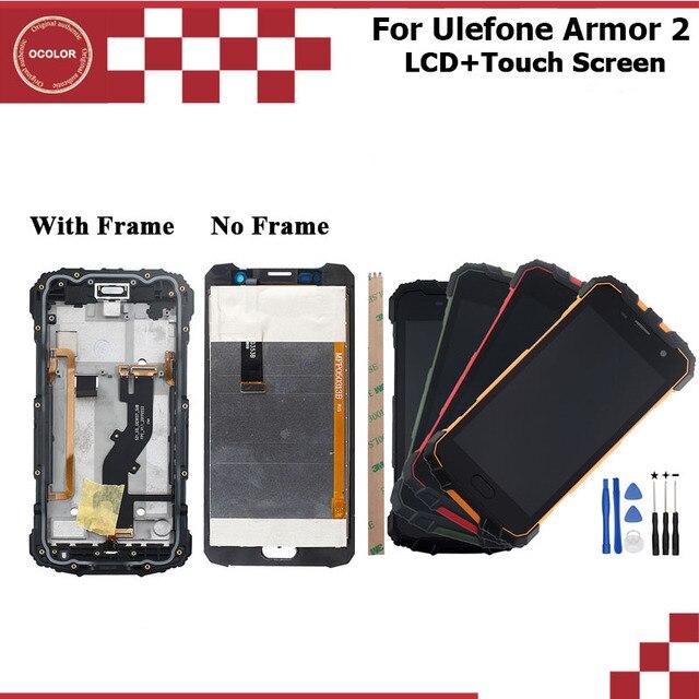 Ocolor para ulefone armadura 2 display lcd e tela de toque + quadro 5.0 polegada acessórios do telefone acessório + ferramentas e adesivo