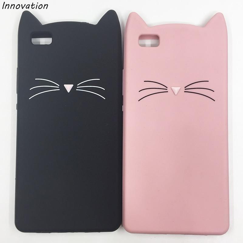 Innovation Fashion 3D Cute Cartoon Black Glitter Beard Cat Ear Silicone Case For Huawei P8 Lite P8Lite Rubber Coque Back Cover