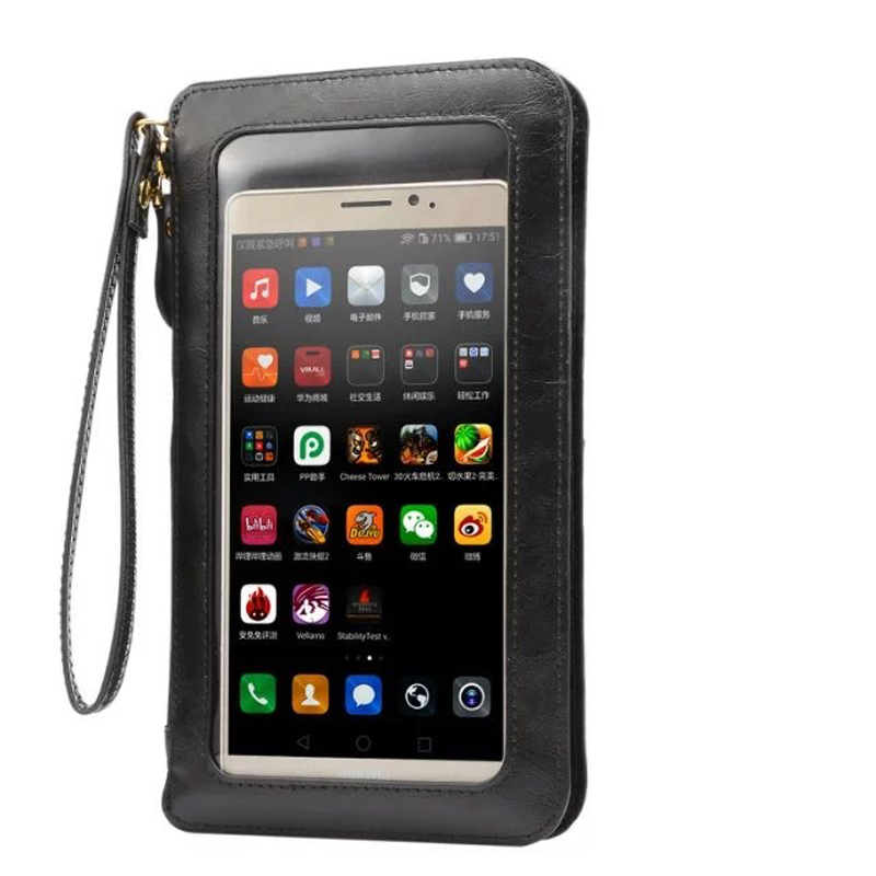 Leather Case Touch Screen Small Shoulder Crossbody Pouch Wallet Bag for iPhone 11 galaxy S9 Plus Note10 Phones wristlet clutch