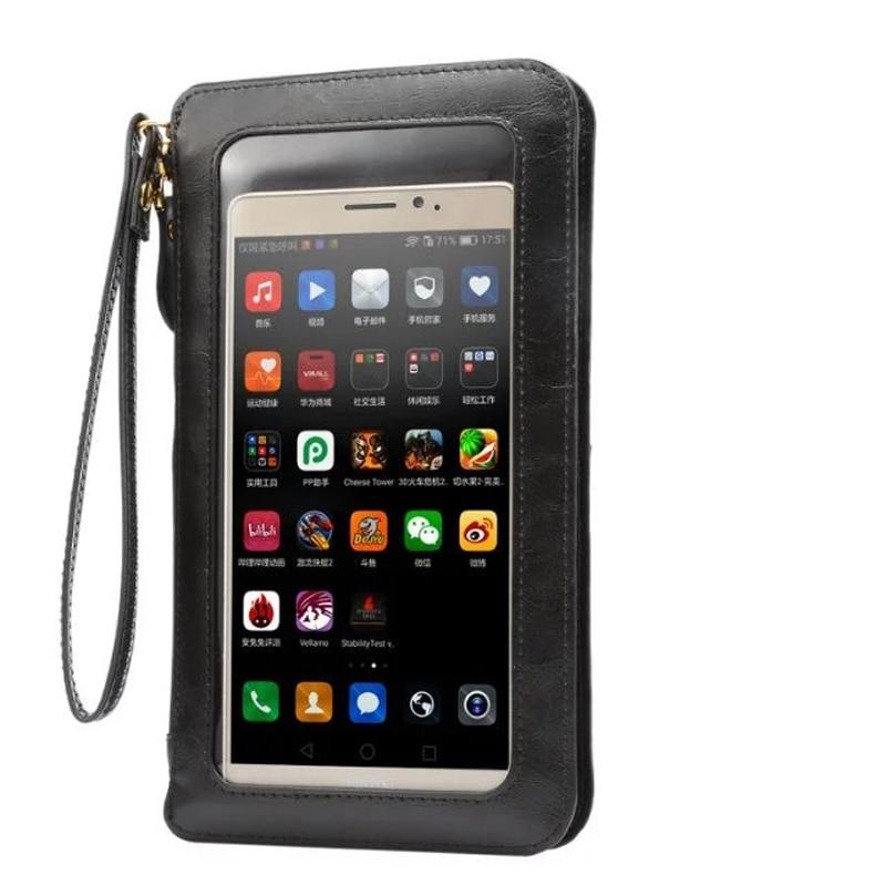 Läderfodral Pekskärm Liten axel Crossbody Pouch Plånbokväska för iPhone 11 galaxy S9 Plus Note10 Telefoner wristletkoppling