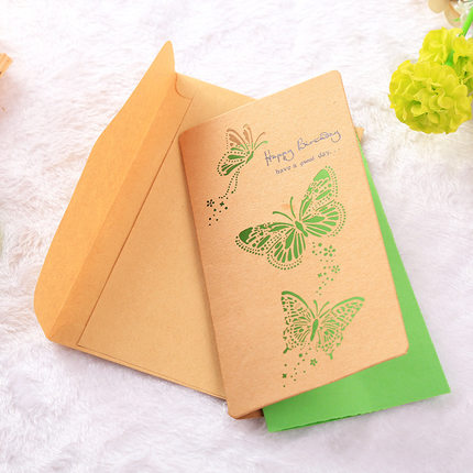 Vintage Kraft Paper Hollow Out Blank Inside Card Envelopes Greeting Cards Best Wishes Birthday Thank You Decorative Craft In Invitations From
