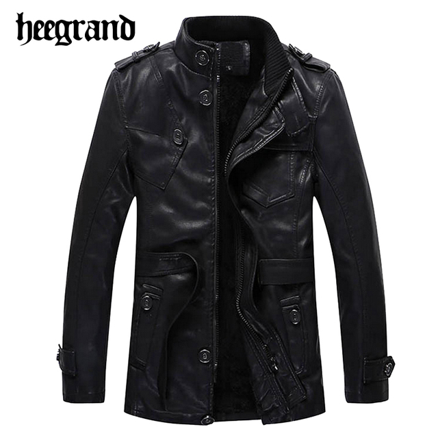 HEE GRAND 2017 New Men Fashion Solid Black Mandarin Collar PU Leather Jackets Slim Belt Slim Warm Overcoat MWP295