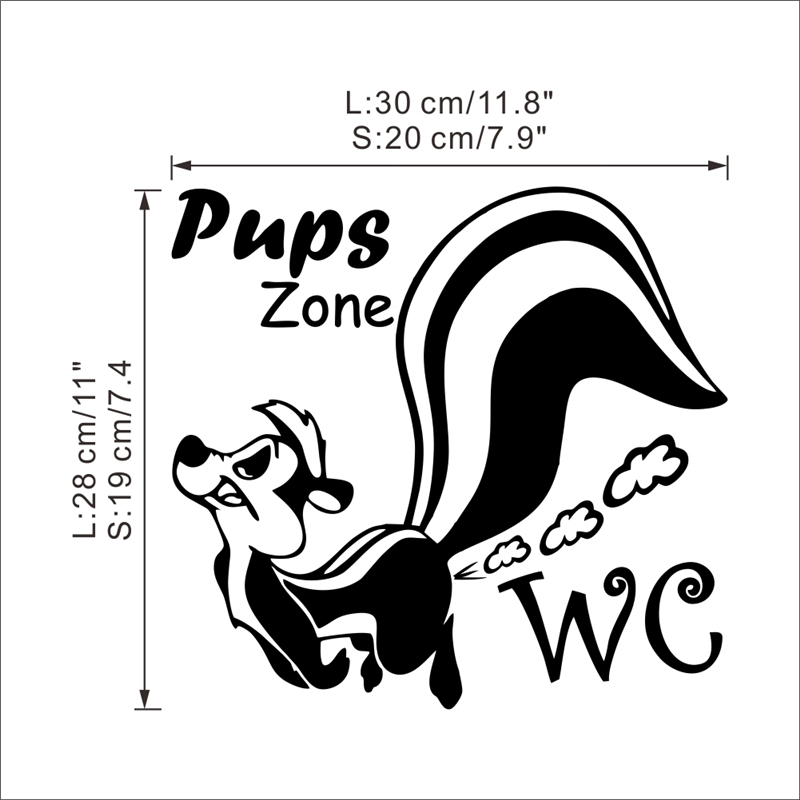 pups zone wall stickers toilet bathroom WC rooms decorations 362 diy vinyl home decals cartoon animal mural art posters 4 0 in Wall Stickers from Home Garden