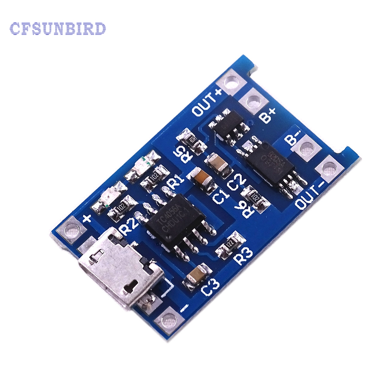 10pcs  Micro USB 5V 1A 18650 TP4056 Lithium Battery Charger Module Charging Board With Protection Dual Functions 10pcs lot 2s li ion lithium battery 18650 charger protection module board 3a 7 4v 8 4v free shipping