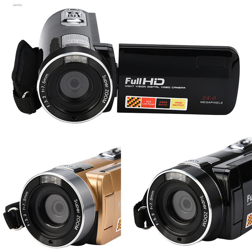 "Infrared Night Vision Remote Control Handy Camera HD 1080P 24MP 18X Digital Zoom Video Camera DVwith 3.0""LCD Screen DEYIOU"