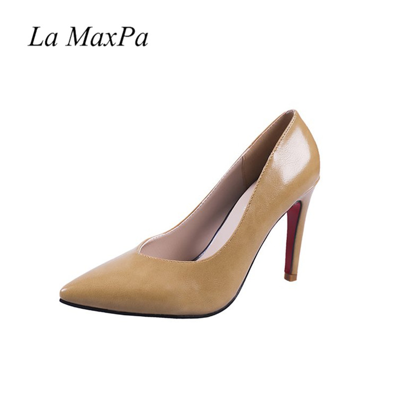 La MaxPa Brand Design 2018 Fashion Pumps Women Shoes Thin High Heels 10cm Elegant Ladies Black Brown Zapatos Mujer in Women 39 s Pumps from Shoes