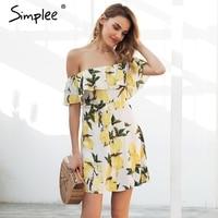Simplee Ruffle Off Shoulder Mini Dress Women Casual Backless Streetwear Summer Dress 2018 Spring Button Short