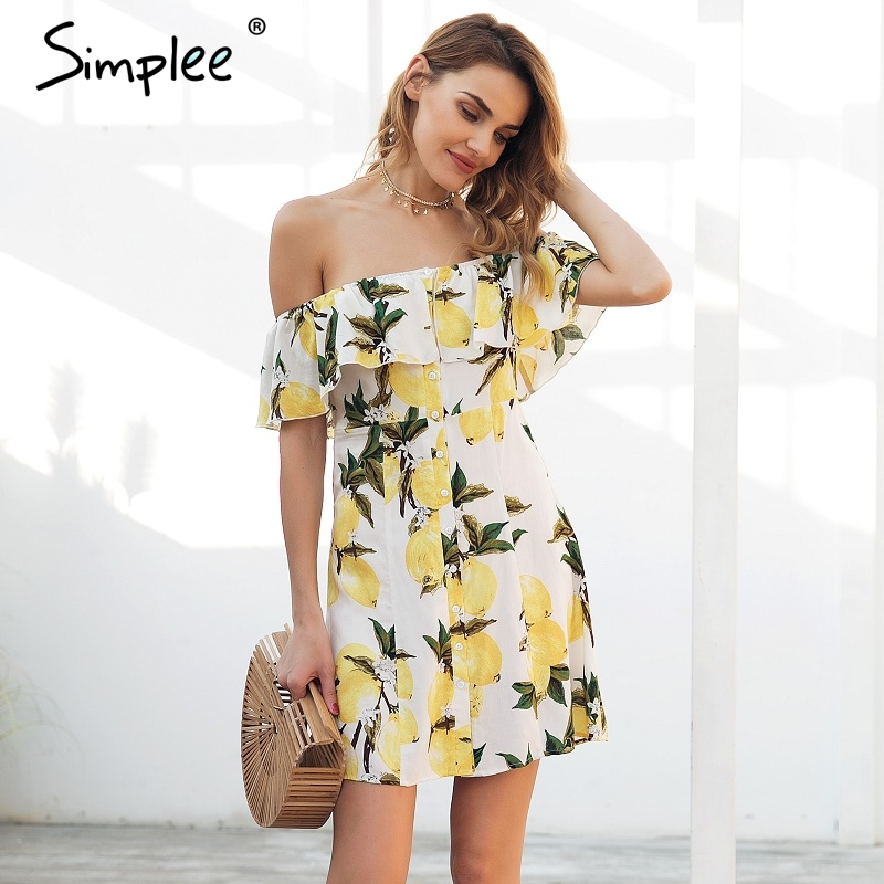 Simplee Ruffle off shoulder mini dress women Casual backless streetwear summer dress 2018 Spring button short dress vestidos