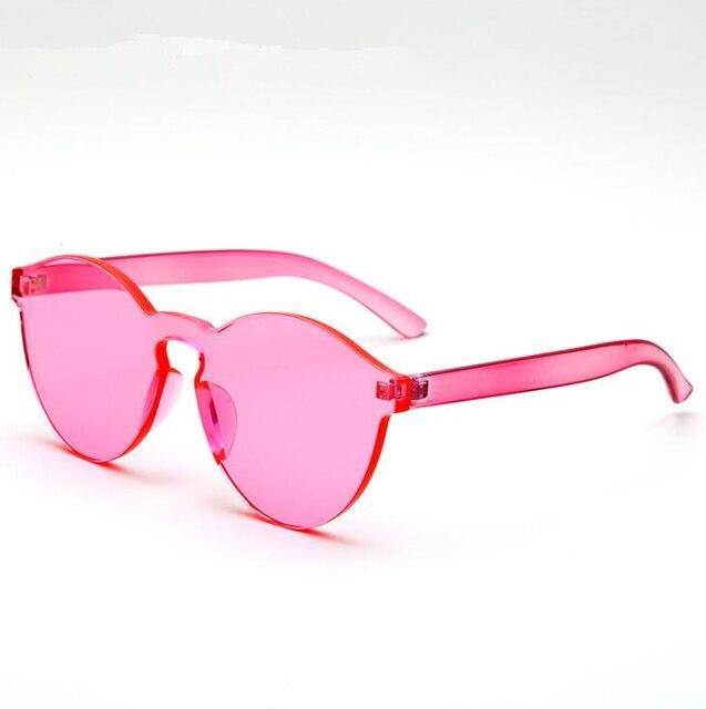 3588d0382b6d Summer Women Jelly One Piece Rimless Sunglasses Transparent Candy Color  Eyewear Sun Glasses