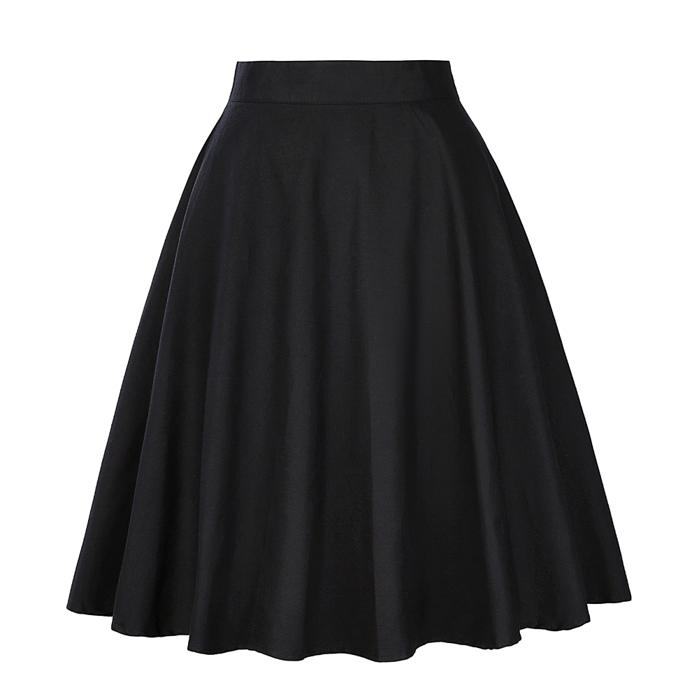 1aa6156da61 High Waist Runway Pleat Skirt Black Knee Length Flared Skirts Retro ...