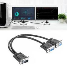 VGA kabel splittera 1 komputer do podwójnego 2 adapter monitora Y Splitter męski na żeński VGA przewód zasilający na PC Laptop