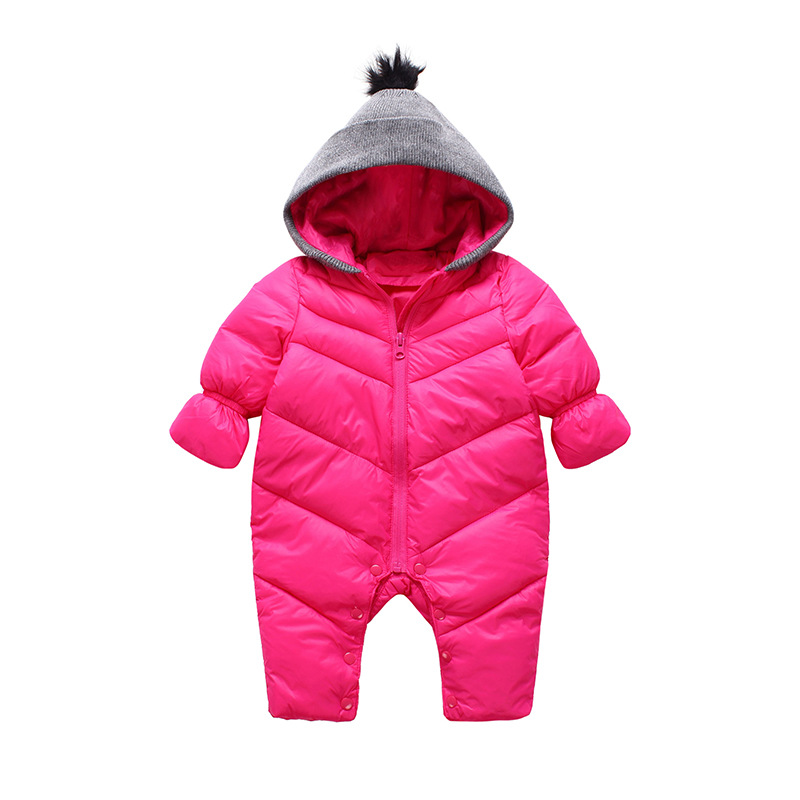 0-24M Winter Warm Romper Toddler Hooded Thicken Zipper Jumpsuit Newborn Baby Top Quality Snowsuit Roupa Infantil Free Shipping