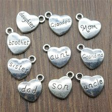 Family Charms Antique Silver Family Dad Mom Sister Uncle Son Brother Daughter Grandpa Grandma Charms(China)