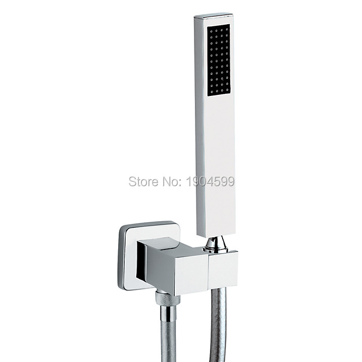2017 Rushed Hot Sale Square Combined Wall Outlet, Hose, Handshower and Bracket Kit 2016 rushed sale fashion