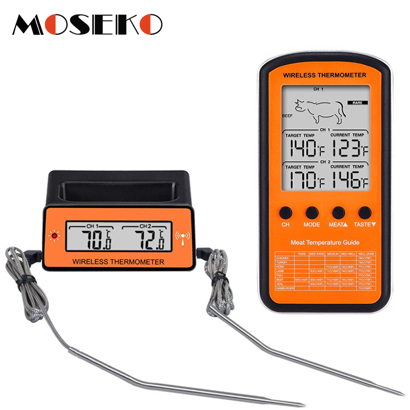 MOSEKO Dual Probe Digital Wireless Oven Thermometer For Meat Water Food Barbecue BBQ Cooking Kitchen Timer Temperature Alarm-in Temperature Gauges from Home & Garden