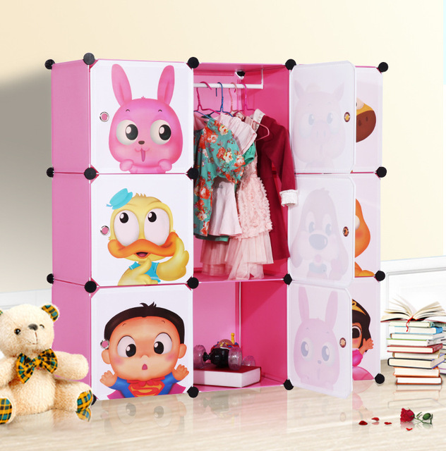 Free Shipping Assemble Plastic Portable Wardrobe Closet For Kids
