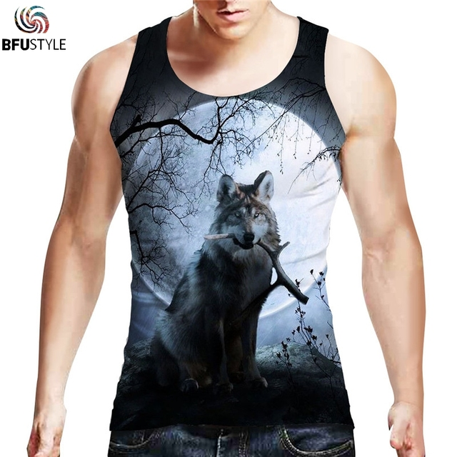 298a04ca4e0b4b Brand Clothing Men Fitness Shirts Cotton Workout Bodybuilding Men Sportwear  3D Printed Wolf Tank Top Sleeveless Vest Dropship