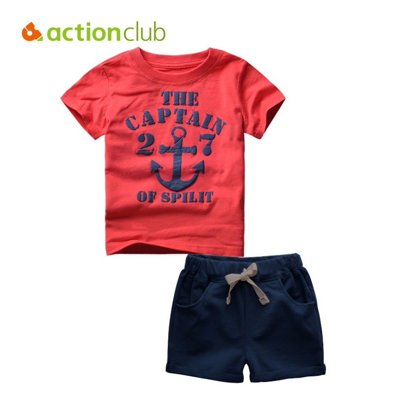 Actionclub Baby Boys Summer Clothing Set Cotton Short Sleeve T-shirt and Pants Kids Captain Anchors Pattern Clothes For Children