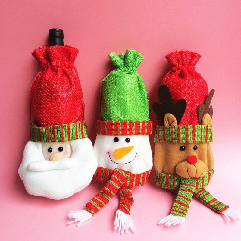 Высокое качество ручной работы милые Санта Клаус Рождество шампанское Красный бутылки вина сумки Обложка Одежда домашний праздник ужин Ук...
