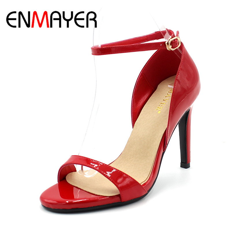 ENMAYER Fashion Sexy Black Red Ankle Strap Summer High Heel Sandals for Women Peep Toe Platform Party Shoes Women Wedding Shoes enmayer women s dress sandals fashion sexy high heels lace cutout summer shoes prom wedding open toe platform sandals