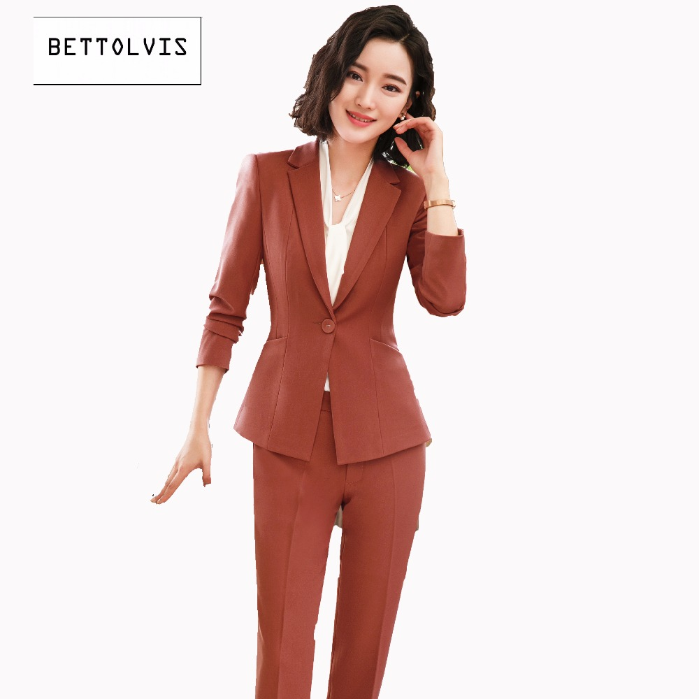 Bettolvis 2018 Spring Autumn formal female blazer pants suits 3XL OL slim office ladies trousers work wear blazer suits